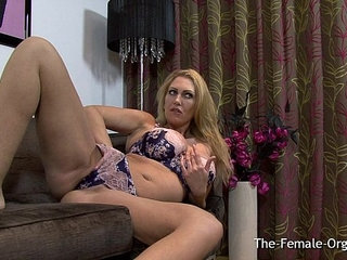 Big Breasted British MILF Masturbating Her Meaty Pussy to Orgasm