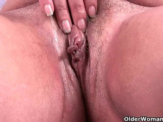Chubby grandma ends her workout with a pussy rub