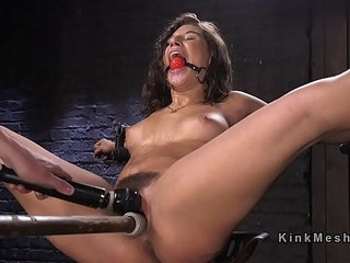Hairy pussy toyed in different bondages