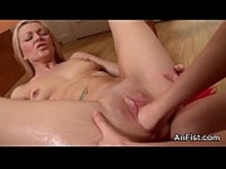 Kinky lesbo honeys are spreading and fist fucking anals