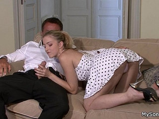 Hot blonde rides her BFs dad cock